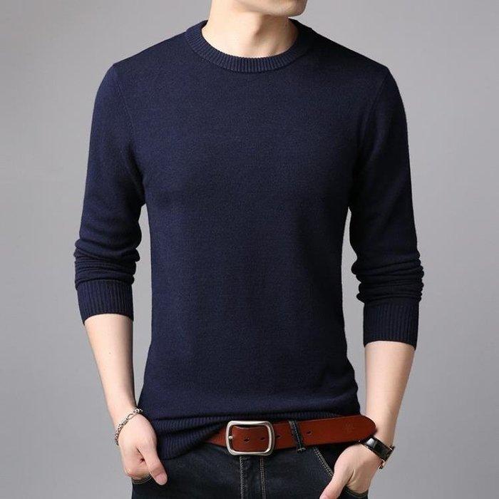 秋冬中年男士毛衫長袖圓領羊毛衫針織打底衫男生毛衣 男針織衫套頭衫t6551