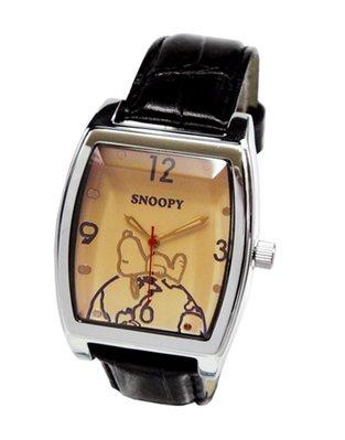 【卡漫迷】 Snoopy 方形 手錶 淺膚色 ㊣版 史努比 史奴比 男錶 女錶 中性錶 水晶錶面 原價七折出清