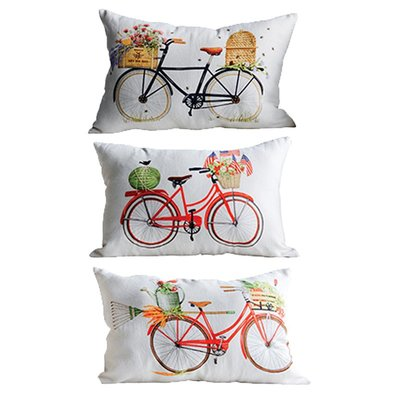 【Eze Art Deco】美國設計師傢飾,美式自行車抱枕(三款) 靠枕/抱枕/靠墊/枕頭/腰枕 送禮民宿擺飾居家