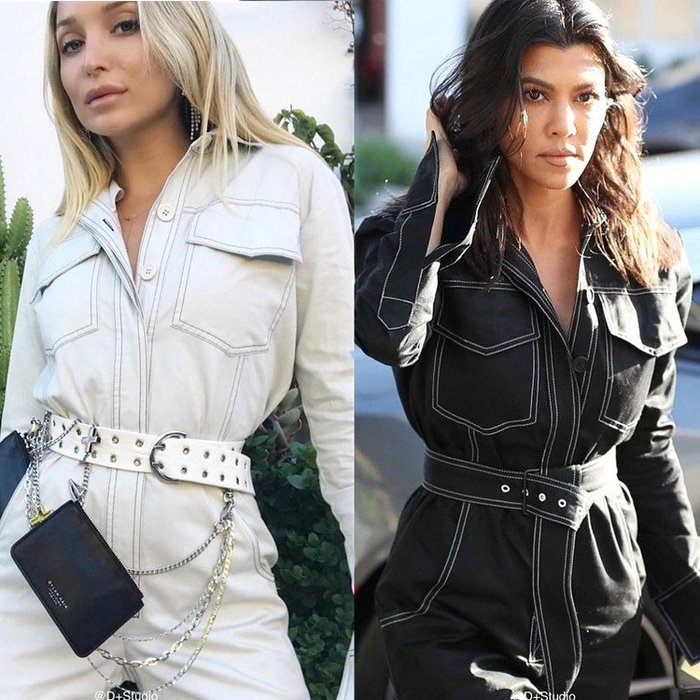 ◇。Queen Bee。◇歐美名媛Kardashian穿搭INS爆紅個性不撞衫撞色縫線顯瘦腰帶收腰翻領口袋工裝連身褲