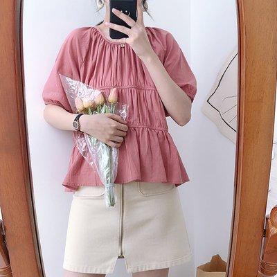 韓國褶皺背後鏤空繫結寬鬆娃娃衫