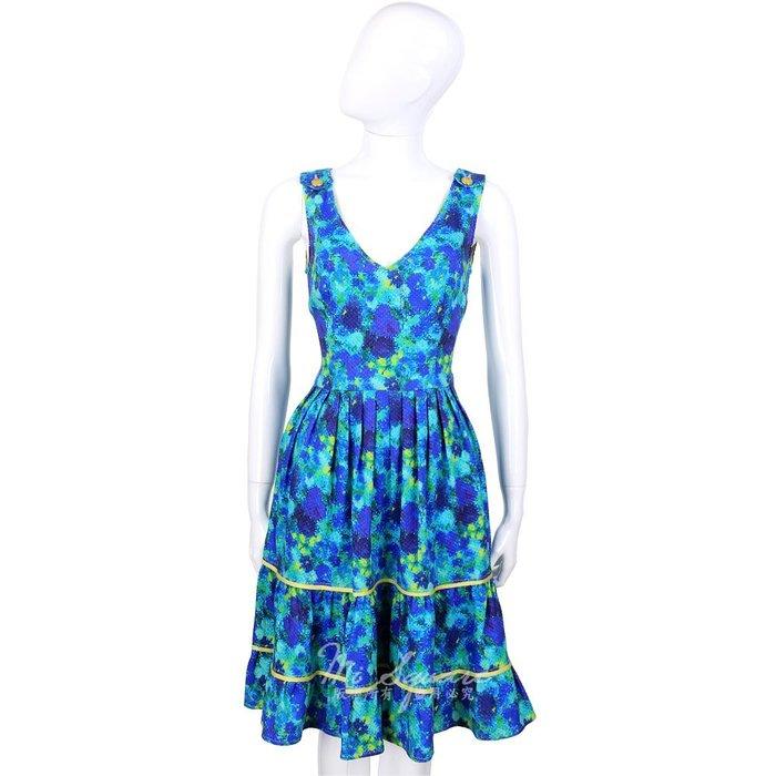 米蘭廣場 CLASS roberto cavalli 藍色彩繪渲染V領無袖洋裝 1410669-A4