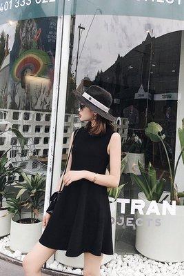 夏天家2018夏季新款韓版無袖露肩小個子連衣裙女高腰針織小黑裙子