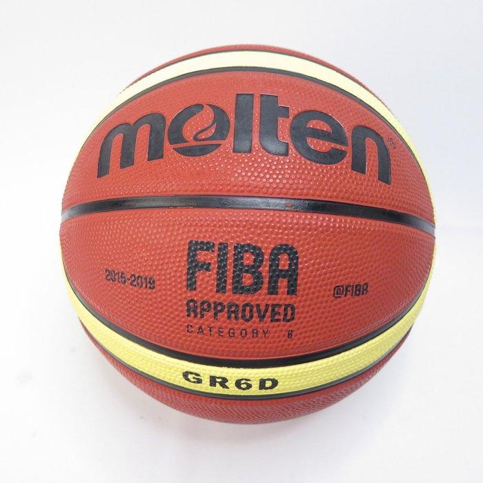 MOLTEN 12片橡膠深溝 六號籃球 女子用球 BGR6DYBW 棕+黃【iSport愛運動】