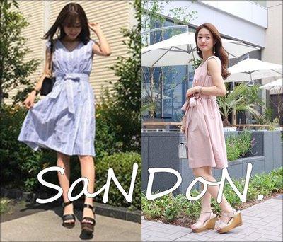 SaNDoN x MERCURYDUO 夏季六月新入荷 顯瘦V領條紋綁帶襯衫洋裝 SNIDEL SLY 170617