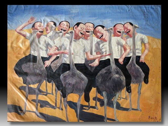 【 金王記拍寶網 】U1502 岳敏君款  手繪原作  油畫一張 (大張)  罕見 稀少 藝術無價~