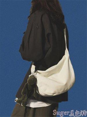 斜背包 原宿日系帆布側背包女大學生大容量ins上課斜背包男士文藝布袋包 suger