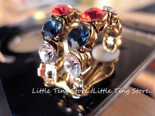奧地利施華洛世奇SWAROVSKI 6顆水晶水鑽美國國旗版古銅金麻花貼耳環貼耳飾螺旋夾式 3色