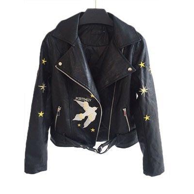 皮衣外套 機車夾克-和平鴿刺繡腰帶短款女外套73on20[獨家進口][巴黎精品]