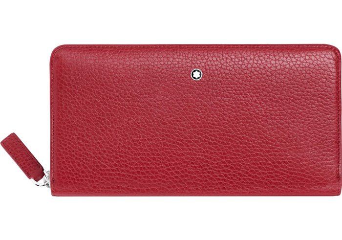 萬寶龍 MONTBLANC 型號:116972 荔枝紋牛皮8卡拉鏈長夾-紅色