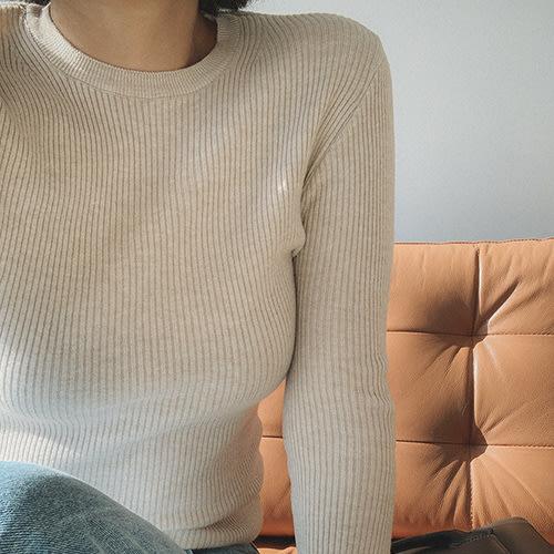 i-Mini 正韓|簡約直紋圓領合身針織上衣|4色‧ 韓國連線‧代購‧空運【B11117207hu】