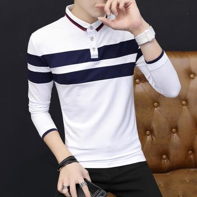 ZIHOPE 長袖T恤男青少年男士翻領上衣服純棉薄款男裝POLO衫體恤ZI812