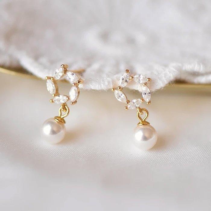 CN 精緻閃亮鋯石花環 925通體純銀防過敏 珍珠耳環 禮盒裝
