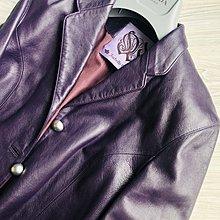 原價五萬多 溫慶珠深紫色小羊皮修身皮衣