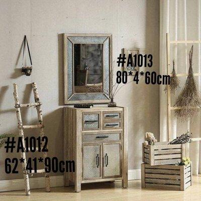 工業風格刷舊實木收納櫃  玄關櫃 置物...