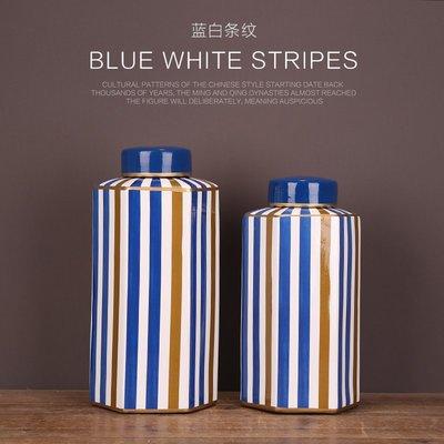 〖洋碼頭〗客廳酒櫃軟裝飾品擺件陶瓷工藝裝飾品瓷罐擺設藍白條紋多邊形方罐 ysh463