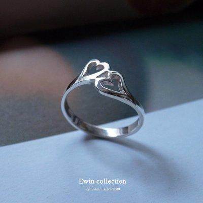 心心相印925純銀戒指/愛心心型(T-R281)現貨【Ewin 創物】'17