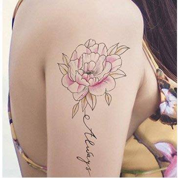 【萌古屋】線條英文花朵手臂花臂 - 男女防水紋身貼紙微刺青貼紙SY-B105 K29