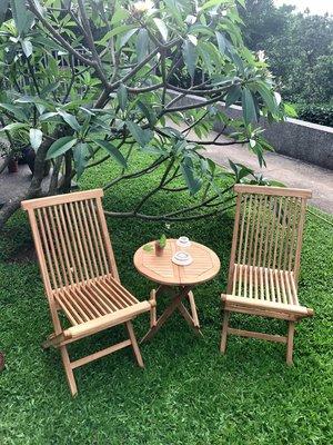 柚木原木椅 庭院休閒摺疊桌椅組 大特價 !!
