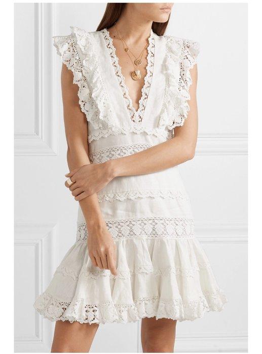 大牌 麻➕棉 白色滾邊連身裙