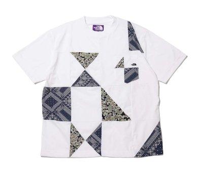 THE NORTH FACE TNF 紫標 三角拼塊BANDANA 短袖Tee 黑白兩色。太陽選物社