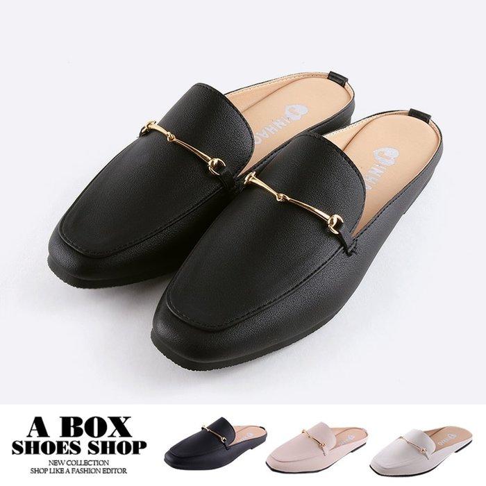 格子舖*【ASNW449】2CM穆勒鞋 優雅氣質ㄧ字飾釦 皮革平底方頭半包鞋 懶人鞋 MIT台灣製 3色