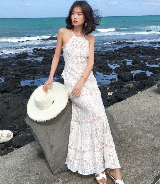 ♥PK漂亮♥ F18059 S~L號 白色全蕾絲削肩交叉露背性感沙灘旅拍細肩帶長裙連身洋裝 宴會婚紗禮服