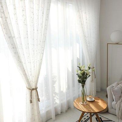 YEAHSHOP 訂製北歐風半遮光窗簾布小清新客廳臥室陽臺窗紗飄窗透光紗簾訂做Y185
