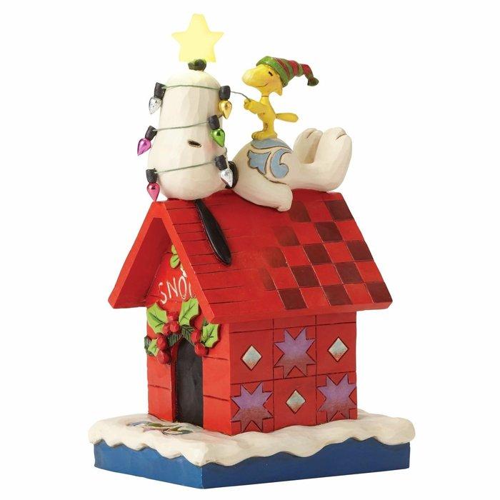 【Dona代購】現貨 美國Enesco精品雕塑 史努比狗屋糊塗塔克聖誕節點燈 造型塑像 木雕風公仔擺飾 雕像模型