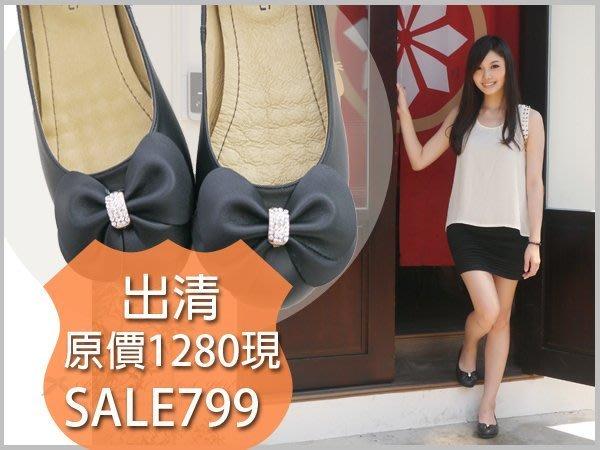 ☆╮喬伊公主╭☆【lu306】原價1280元全真皮牛皮蝴蝶結水鑽-黑色娃娃鞋MIT-葛妮絲黑色