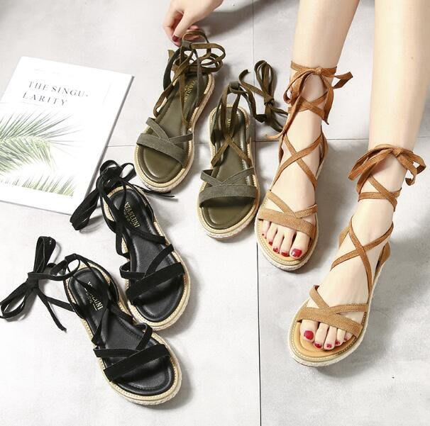 韓版真皮夏季綁帶羅馬涼鞋 新款平底低跟學生原宿系帶涼鞋—莎芭
