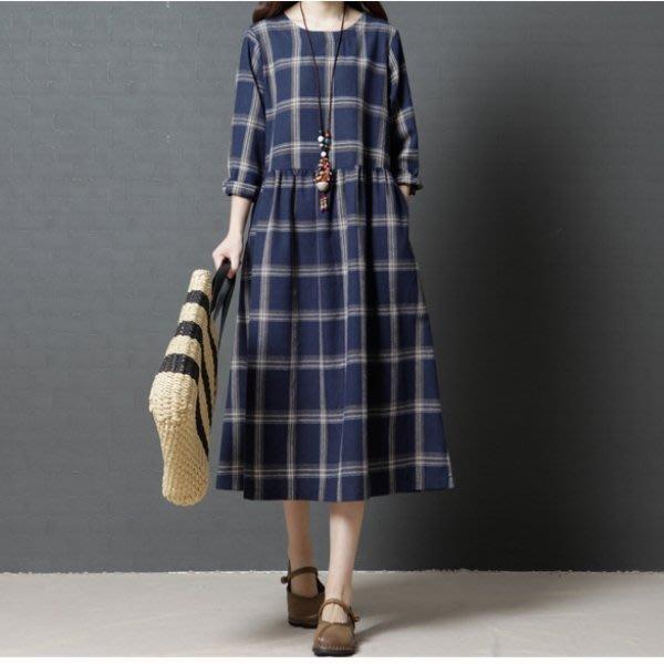 漂亮小媽咪 文藝洋裝 【D1358】 原創 格紋 長袖 長裙 格子紋 長洋裝 孕婦裝 純棉 長袖洋裝