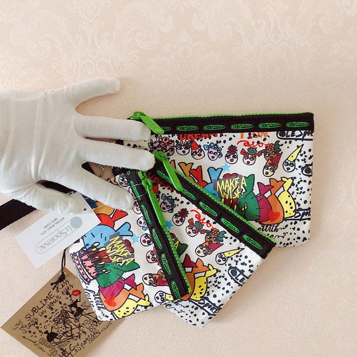 Lesportsac 歡樂會 降落傘防水 3455 三件組 附掛繩 拉鍊化妝包收納包 卡片 零錢 鑰匙 推薦 限量回饋