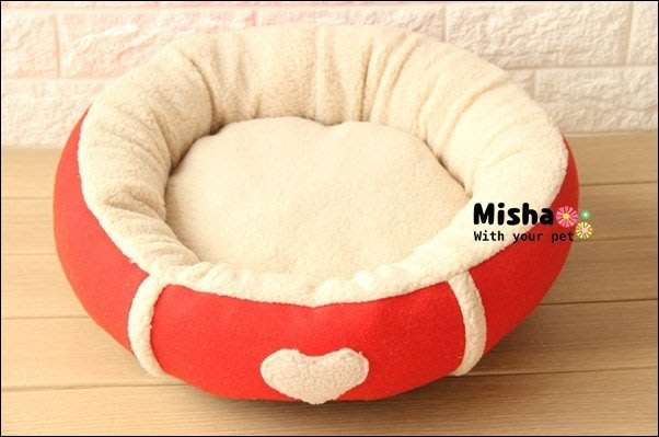 ✿ Misha ✿ 愛心羊羔絨圓圓寵物窩  貓狗床墊窩 狗窩狗床 全可拆洗 一體成型 超厚實 499 現貨【滿千免運】