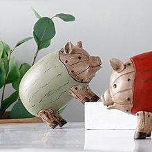 〖洋碼頭〗客廳電視櫃擺件創意禮品生日禮物辦公室桌面擺設仿木紋小豬擺件 ybj356