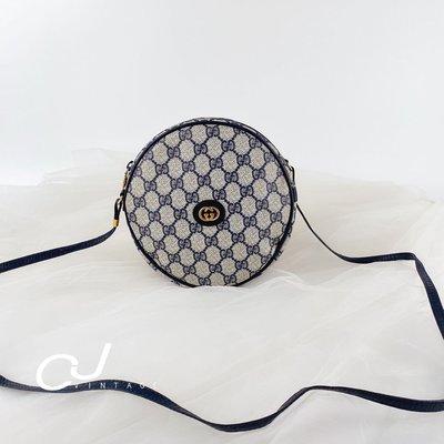 ✨CJ Vintage✨日本二手正品Gucci Vintage藍老花稀有圓餅斜背包