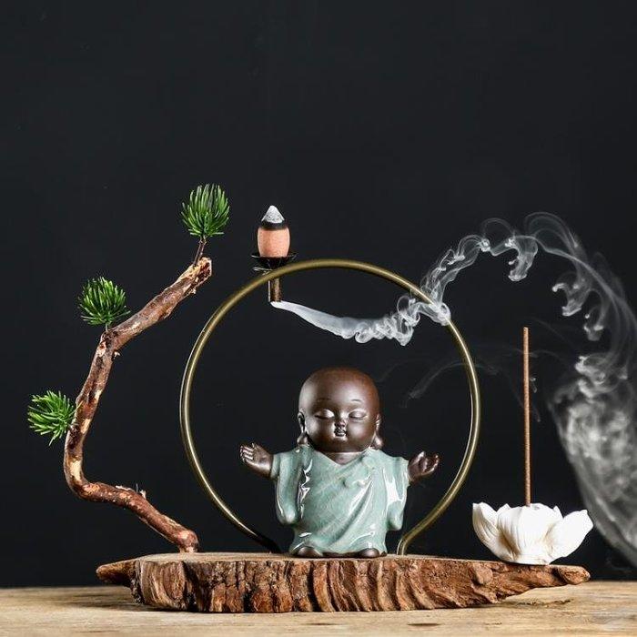倒流香風化木禪意小和尚擺件創意陶瓷香插家用茶道檀香香薰爐 KB958