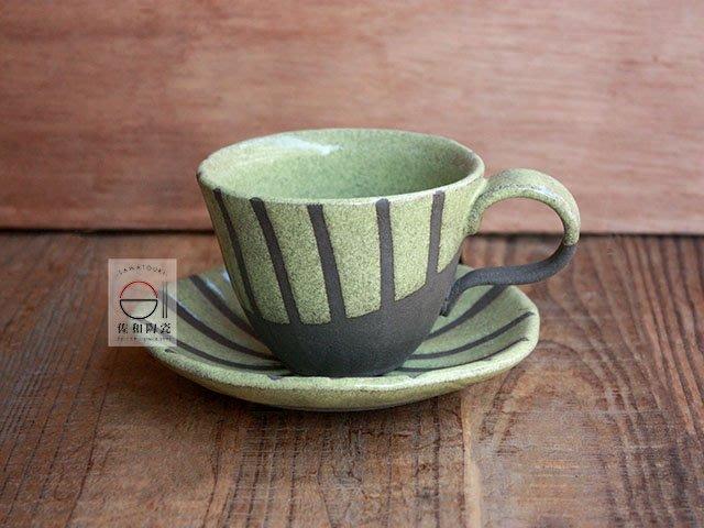 +佐和陶瓷餐具批發+【XL070914-7綠釉十草咖啡組-日本製】日本製 咖啡杯 食器 茶杯組 茶飲杯 杯 馬克杯