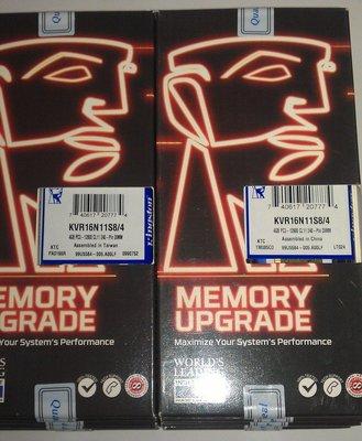金士頓 DDR3 1600 4G 4GB 桌機記憶體 KVR16N11S8/4 (非8G創見威剛JETRAM美光)