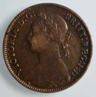 百年錢幣 1883年 維多利亞 victoria 1F farthing 銅幣