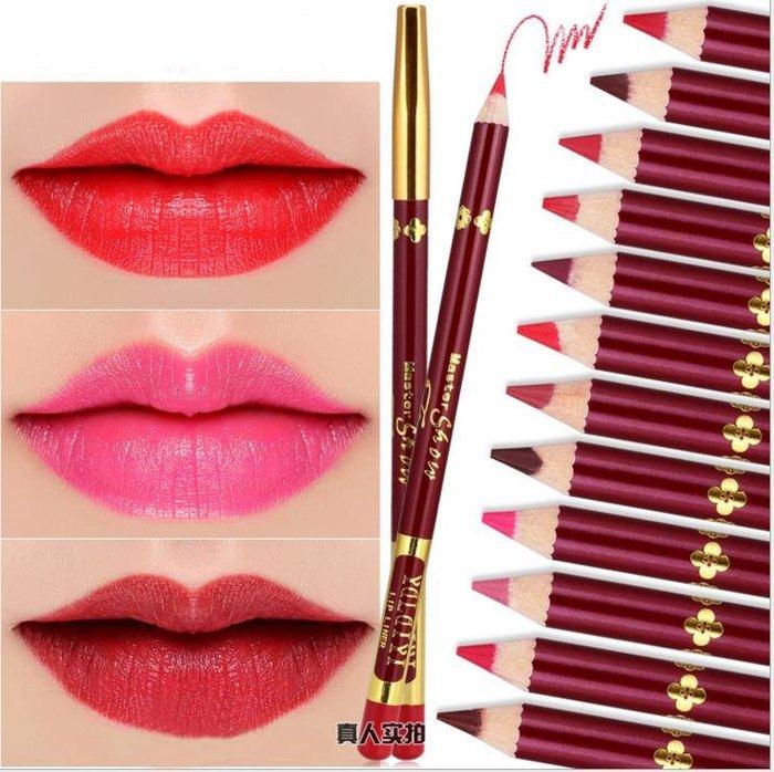 半永久紋繡防水12色唇線筆啞光絲絨口紅筆防水不脫妝紅桿唇線筆