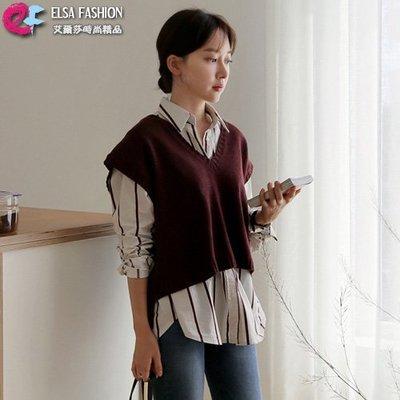 直條襯衫 簡約時尚條紋百搭襯衫 艾爾莎【TAE6202】