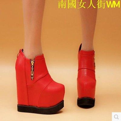 南國女人街WM2019新款坡跟短靴女春秋英倫馬丁靴女潮短靴單靴及踝靴19cm15