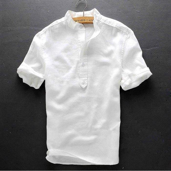 男士立領短袖棉麻襯衫修身款上衣休閒透氣夏裝白色亞麻襯衣男半袖