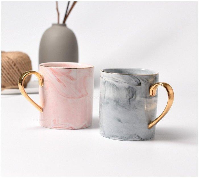 尼克卡樂斯~北歐大理石紋金手柄陶瓷馬克杯 咖啡杯 網紅馬克杯 餐廳咖啡杯 交換禮物 生日禮物 陶瓷杯