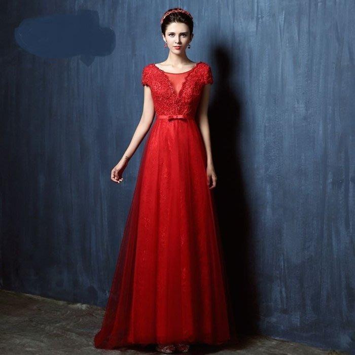大小姐時尚精品屋~~經典女神紅色一字肩款新娘修身顯瘦主持人長禮服~3件免郵