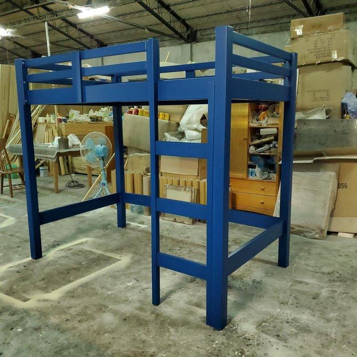 美生活館 家具訂製 客製化 全紐松 經典藍 單人高架床 兒童床 也可修改尺寸顏色再報價