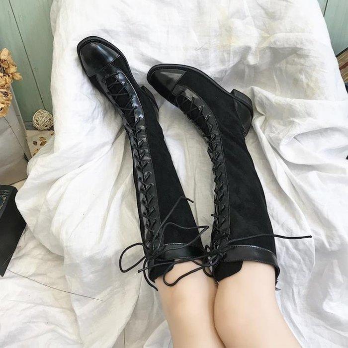 YEAHSHOP 長筒馬丁靴女2019英倫風秋冬系帶騎士靴Y185