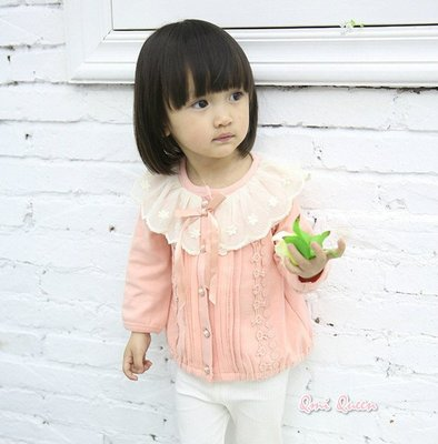 Q朵米-秋季童裝嬰幼兒女童可愛蕾絲花邊蝴蝶結糖果色上衣