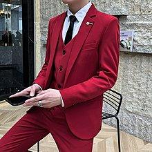 男西裝 韓版西裝 男士三件套西服青年純色小西裝套裝春秋厚款結婚禮服商務正裝